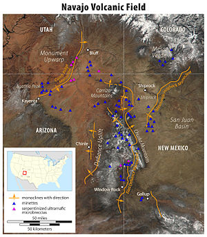 Shiprock - Map of Navajo Volcanic Field with Shiprock
