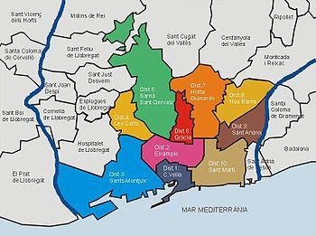 Mapa de los Distritos de Barcelona