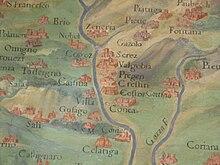 Concesio e la bassa valle in una mappa dei Musei Vaticani.