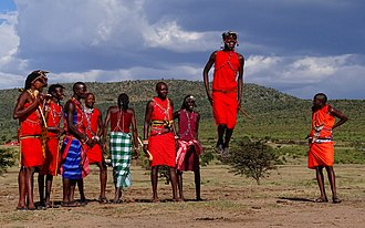 Maasai people - Maasai men performing a traditional jumping dance.
