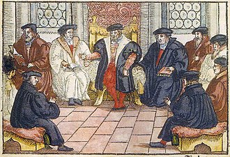 Marburg Colloquy - Anonymous woodcut, 1557
