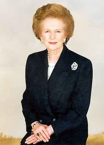 Margaret Thatcher (1925-2013), under whose leadership the Conservative Party has shifted their economic policies to the right as well as Thatcherism Margaret Thatcher stock portrait (cropped).jpg