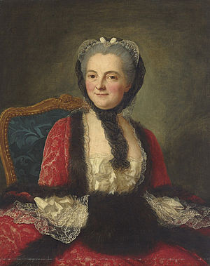 Marianne Loir - Portrait of a woman in a red dress with a black muff