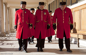 Chelsea Pensioner - Marjorie Cole, middle, one of many female Chelsea Pensioners at the Royal Hospital