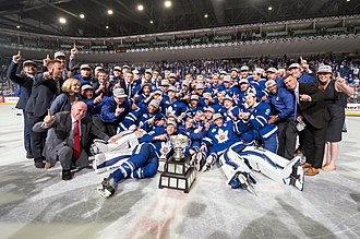 Toronto Marlies - The Marlies with the Calder Cup, the club's first after defeating the Texas Stars in the 2018 Calder Cup Final.