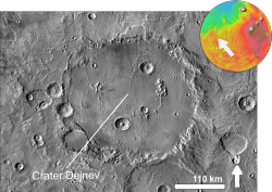 Martian crater Dejnev based on day THEMIS.png