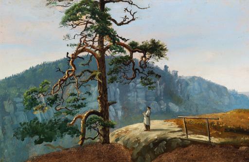 Martinus Rørbye - Norsk bjerglandskab med en mand, der nyder udsigten - 1830