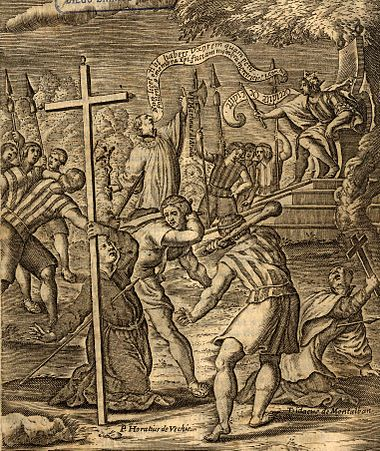 Jesuits who were martyred by the Araucanian Indians in Elicura in 1612 Martires de elicura.jpg