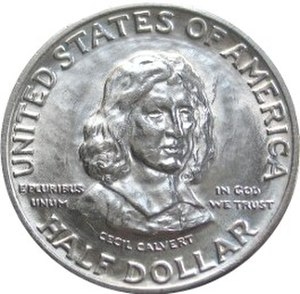Maryland Tercentenary half dollar - Obverse