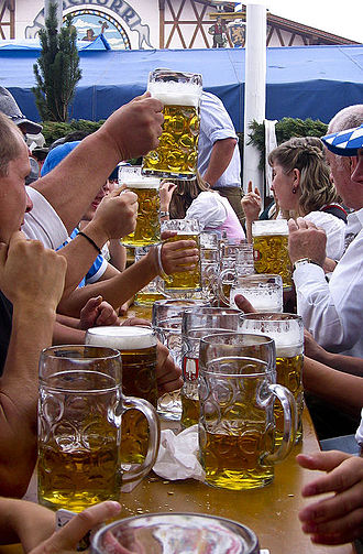 Litre - Maßkrüge (1-litre beer mugs) during the 2006 Oktoberfest in Germany