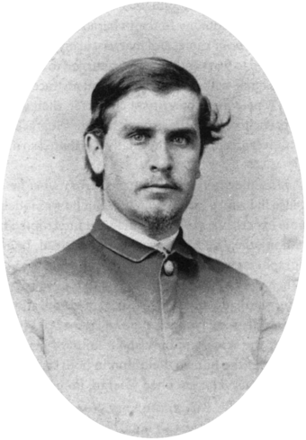McKinley in 1865, just after the war. Photograph by Mathew Brady. McKinleyBrady 1865.png