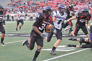 2010 Texas Tech Red Raiders football team - Freshman Ben McRoy scores a second-half touchdown for Texas Tech during the Red Raiders' win over Weber State.