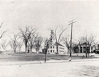 Meeting House Hill - Meeting House Hill in 1895. First Parish Church, center; Lyceum Hall, right.