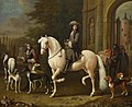 Melchior d'Hondecoeter - Johan Ortt (1642-1701) on Horseback outside the Gate of Nijenrode RCIN 405956.jpg