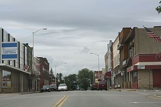 Merrill, Wisconsin - Looking west at the western downtown