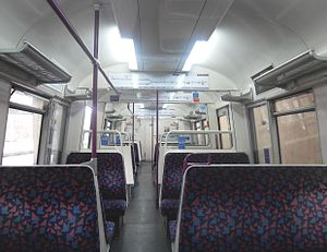 The interior of Metropolitan line refurbished A Stock