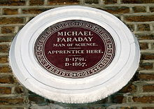 Plaque Commemorating the Apprentiship of Michael Faraday.