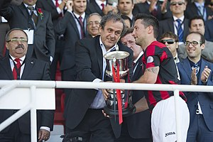 Lincoln Red Imps F.C. - Image: Michel Platini with Lincoln Red Imps, 2014