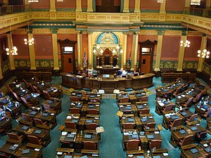 Government of Michigan - The House Chamber of the Michigan State Capitol in Lansing