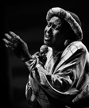 Music in the movement against apartheid - South African singer Miriam Makeba popularised a number of songs that protested apartheid.