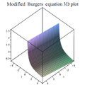 Modified Burgers equation 3D plot 4.png