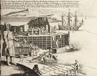 Fishing stage for curing and drying cod, Herman Moll 1654–1732