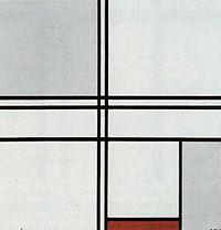 Mondrian, Compositie met rood en grijs.jpg
