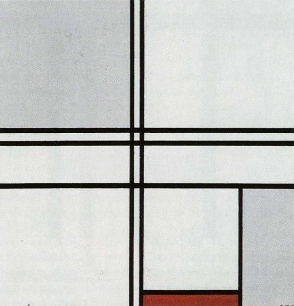 Mondrian, Compositie met rood en grijs