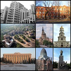 Top left: Derzhprom, Top right: Kharkiv Polytechnic Institute, Middle right: Freedom Square, Middle centre: Annunciation Cathedral, Middle right: Lenin monument on Freedom Square, Bottom left: Kharkiv Oblast administration building, Bottom centre: Choral Synagogue, Bottom right: Taras Shevchenko Monument