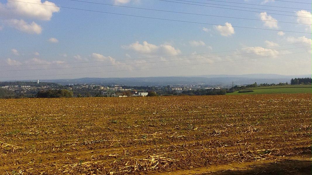Vue générale de Montbéliard (Doubs, France) depuis le point de vue du Bois Bourgeois