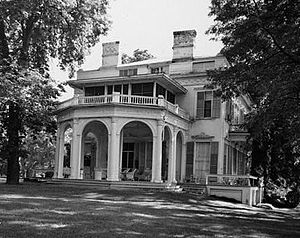 Montgomery Place - HABS photo of Montgomery Place north profile, showing arcaded pavilion added by Davis in 1840s