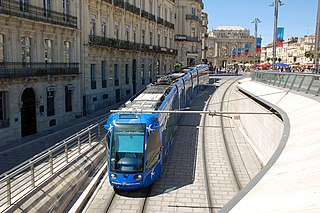 Montpellier tramway transportation system in Montpellier, France