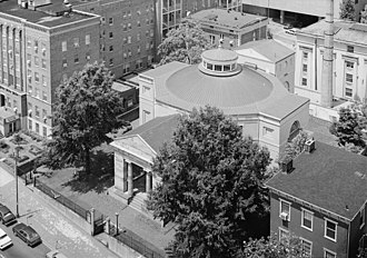 Monumental Church - An aerial view of Monumental Church. The Egyptian Building is just behind it. The Nursing Education building was recently demolished by MCV-VCU.