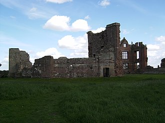 John Ipstones - Moreton Corbet Castle from the west. Although much rebuilt and then replaced in the 16th century, the tall wall in the foreground survives from the family's medieval fortress.