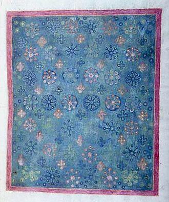 Lindau Gospels - Folio 12r, imitating textile