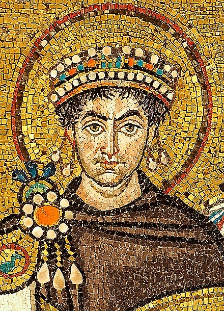 Justinian I depicted on a mosaic in the church of San Vitale, Ravenna, Italy Mosaic of Justinianus I - Basilica San Vitale (Ravenna).jpg