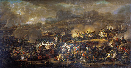 The battle of the Nations (1813), marked the transition between aristocratic armies and national armies. Masses replace hired professionals and national hatred overrides dynastic conflicts. An early example of total wars. MoshkovVI SrazhLeypcigomGRM.jpg