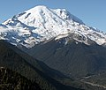 Photograph of the snow-covered Mount Rainier, the centerpiece of Mount Rainier National Park.