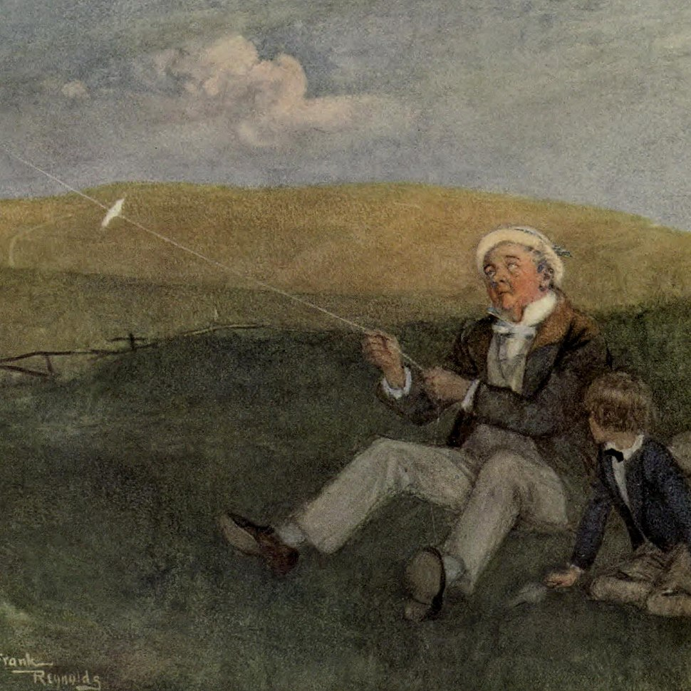 Mr. Dick and his kite, from David Copperfield art by Frank Reynolds