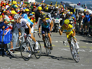 Andy Schleck - Schleck wearing the white jersey at the 2009 Tour de France; he leads Lance Armstrong and Alberto Contador during the climb of Mont Ventoux.