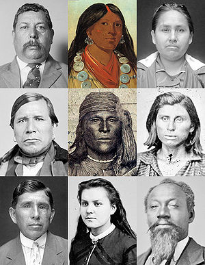 A Muscogee collage from various public domain ...