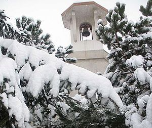 Mužlja - Church of Holy Dominic Savio  (1994) at Peskara (Colony) in snow.