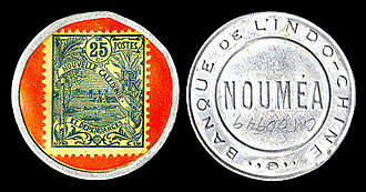 New Caledonian franc - New Caledonia emergency stamp currency, 25 centimes (encapsulated, 1922)