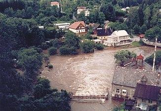 Flood on the Metuje / Mettau in Nové Město nad Metují, 1997