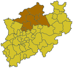 Map of North Rhine-Westphalia highlighting the Regierungsbezirk of Münster