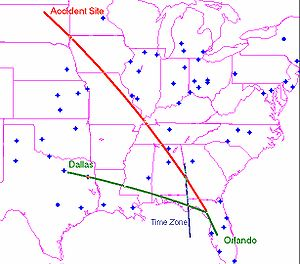 1999 South Dakota Learjet crash - Projected (in green) and actual (in red) ground track of N47BA from departure in Orlando to Dallas and to crash site in South Dakota.