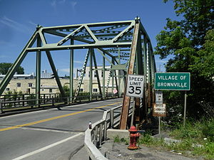 Entering the village of Brownville over a bridge on New York State Route 971H (Bridge Street)