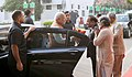 Narendra Modi being received by the Union Minister for Health and Family Welfare, Dr. Harsh Vardhan on his arrival for the valedictory function of the 6th World Ayurveda Congress & Arogya Expo, at Pragati Maidan.jpg