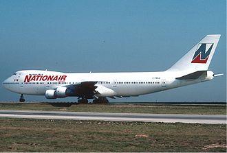 Nolisair - Nationair Boeing 747-200 at Paris-Charles de Gaulle Airport in April 1990.