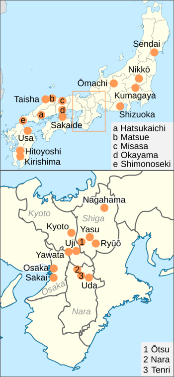 Most of the National Treasures are found in the Kansai area and western Honshū, although some are in central and north Honshū or Kyushu.